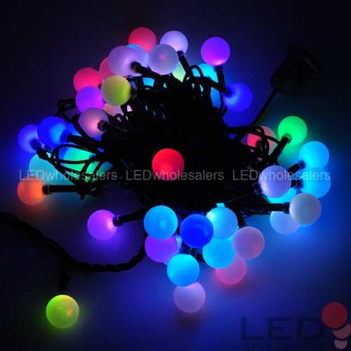 linkable 16 ft color changing led christmas light string with 50 rgb globes