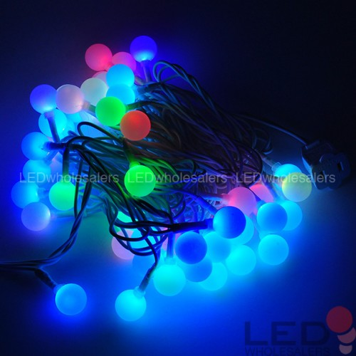 linkable 16 ft color changing led christmas light string with 50 rgb globes ledwholesalers. Black Bedroom Furniture Sets. Home Design Ideas