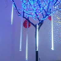 12-Inch 5-Tube LED Snowfall Meteor Shower Falling Raindrop Cascading Lights